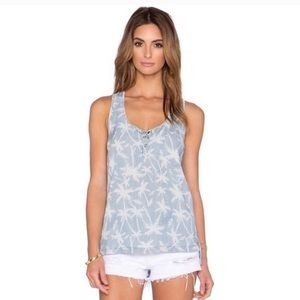 Splendid • Chambray Palm Tree Tank Top Small